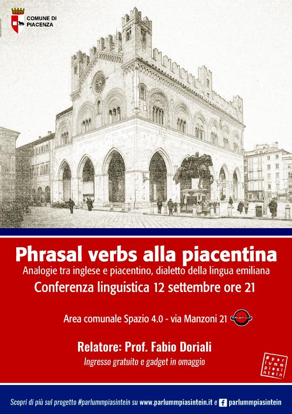 Locandina della conferenza linguistica sul dialetto piacentino