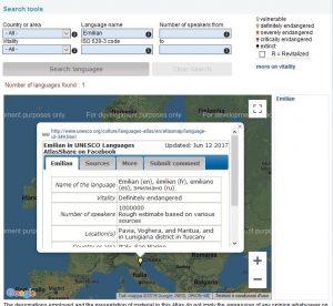 Scansione del sito dell'Atlante delle lingue in Pericolo dell'Unesco elencante la lingua emiliana
