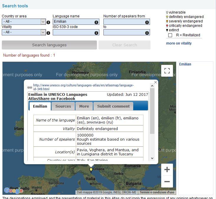 schermata dell'Atlante mondiale delle lingue in pericolo dell'Unesco dove compare la lingua emiliana
