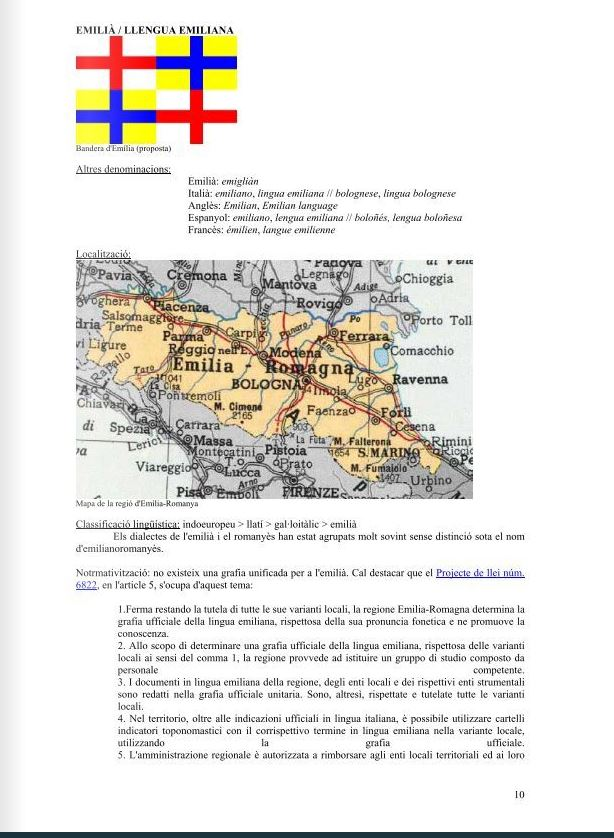 Pagina di un documento dell'università spagnola di Lerida in cui si cita la lingua emiliana