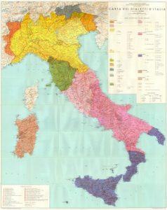 Mappa dialettale d'Italia secondo G. B. Pellegrini