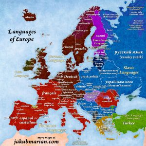 Mappa delle lingue europee secondo Jakub Marian.